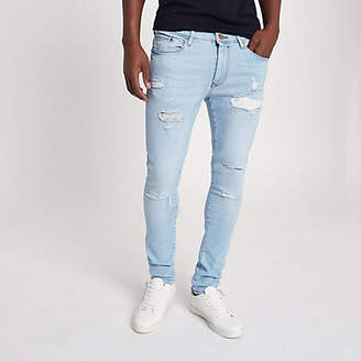 River Island Light blue Danny super skinny ripped jeans
