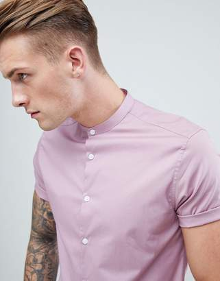 Asos Design Slim Shirt In Dusty Pink With Grandad Collar