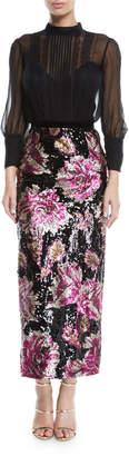 Marchesa Column Gown w/ Chiffon Bodice & Sequin Skirt