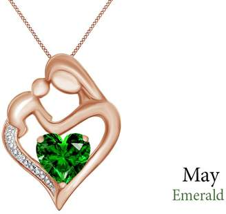 Jewel Zone US Simulated Emerald & White Natural Diamond Accent Mother & Child Heart Pendant in 14k Rose Gold Over Sterling Silver (11/10 Cttw)