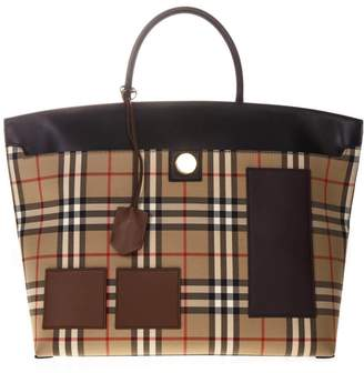 Burberry Hand Bag In Fabric With Print And Lamb Leather