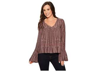 Roper 1383 Grape Vine Print Rayon Peasant Top Women's Long Sleeve Pullover