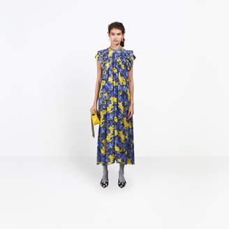 Balenciaga Long and fluid silk dress with frilled details and ruffles on shoulders