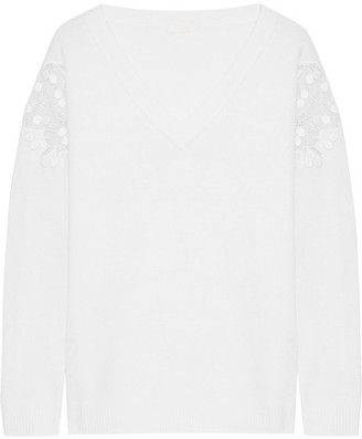 Chloé - Guipure Lace-paneled Wool And Cashmere-blend Sweater - Cream