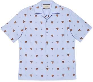 Gucci Tiger head and symbols fil coupé shirt