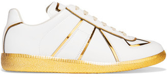 Maison Margiela - Metallic-trimmed Leather Sneakers - White $730 thestylecure.com