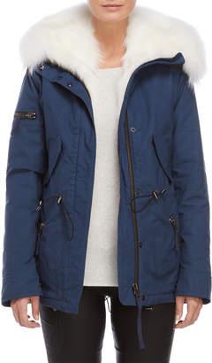 SAM. Real Fur Trim Denim Coat
