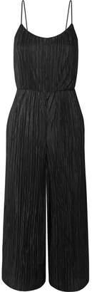 Alice + Olivia Cassia Cropped Plisse-satin Jumpsuit - Black