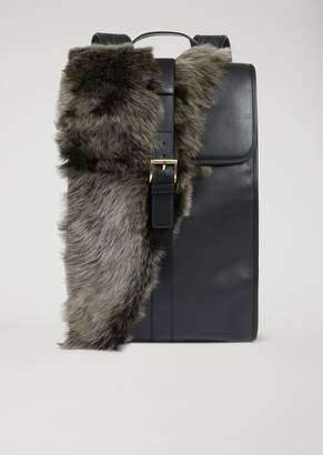 Emporio Armani Leather Backpack With Fur Panel And Adjustable Straps