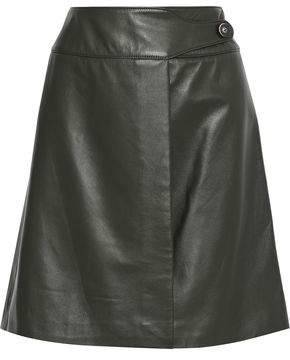 Carolina Herrera Leather Mini Wrap Skirt