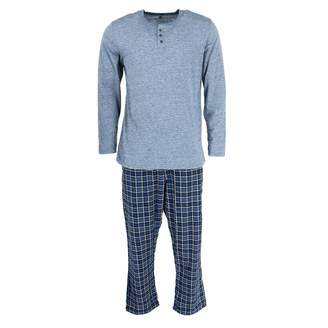 Hanes Mens Henley Crew with Flannel Pant PJ Set (3003B) -Crayon Red -3XL