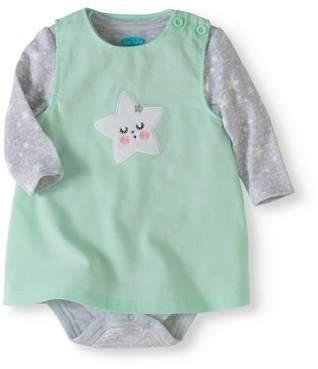 Bon Bebe Newborn Baby Girl Corduroy Jumper & Bodysuit, 2pc Outfit Set