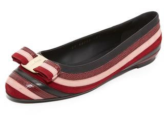 Salvatore Ferragamo Varina Stripes Flats $750 thestylecure.com