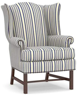 Pottery Barn Thatcher Upholstered Wingback Chair - Print and Pattern
