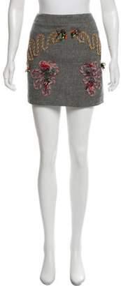 Stella McCartney Embroidered Mini Skirt Grey Embroidered Mini Skirt