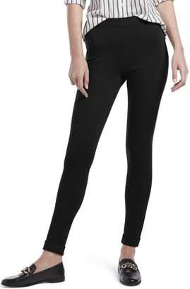 Hue Women's Fleece Lined High Waist Ponte Legging, Cuffed-Black, S
