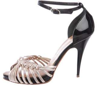 Giuseppe Zanotti Leather Peep-Toe Sandals Rose Leather Peep-Toe Sandals