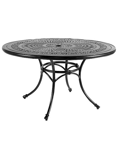Cast-Top Outdoor Dining Table with Umbrella Hole, Curry Finish