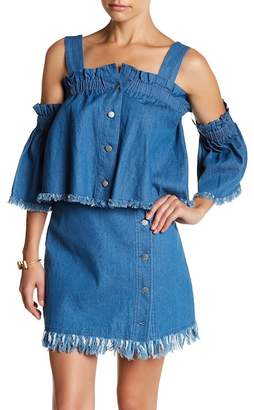 ENGLISH FACTORY Cold Shoulder Bell Sleeve Denim Blouse