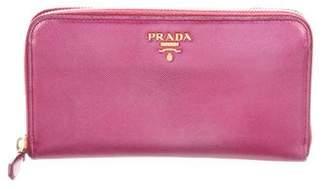 Prada Metallic Saffiano Zip Wallet