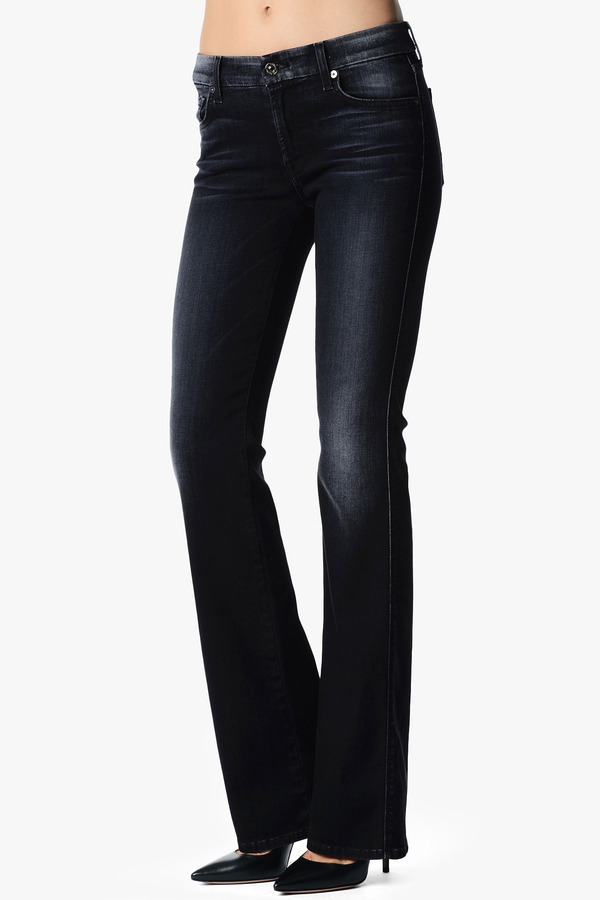7 For All Mankind Kimmie Contour Bootcut In Grey Black Destroy