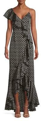 Jill Stuart Ruffle Printed One-Shoulder Dress
