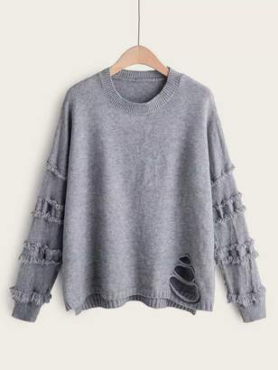 Shein Solid Ripped High Low Hem Sweater