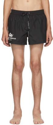 Dolce & Gabbana Black Crown Logo Swim Shorts