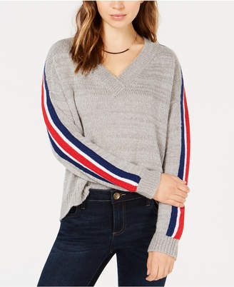 Ultra Flirt Juniors' Varsity-Stripe V-Neck Sweater