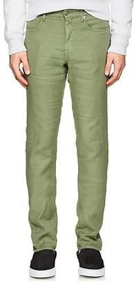 Incotex MEN'S RAY 5-POCKET LINEN-BLEND PANTS - GREEN SIZE 34