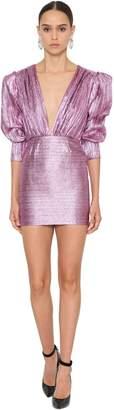 DANIELE CARLOTTA Deep V Lurex Mini Dress