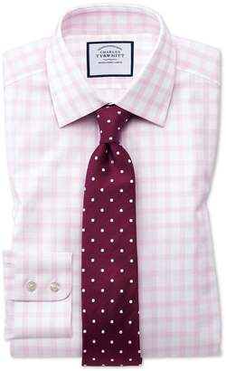 Charles Tyrwhitt Slim Fit Windowpane Check Pink Cotton Dress Shirt Single Cuff Size 15/34