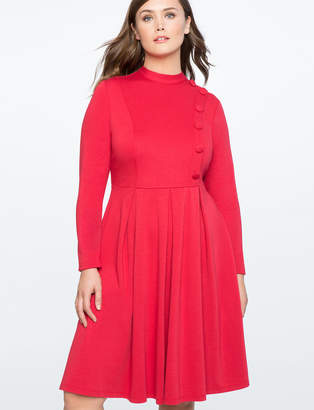 Button Front Mock Neck Fit and Flare Dress