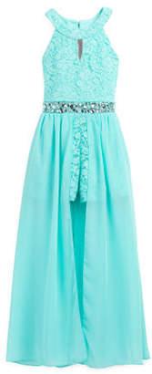 Big Girls Glitter Lace Jeweled Waist Maxi Walk Thru Romper
