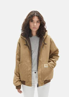 R 13 Hooded Cotton Duck Jacket Tan Olive