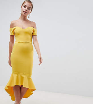 John Zack Petite Off Shoulder Ruffle Midi Dress