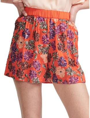 Maje Izul Embroidered Floral Sequin Shorts