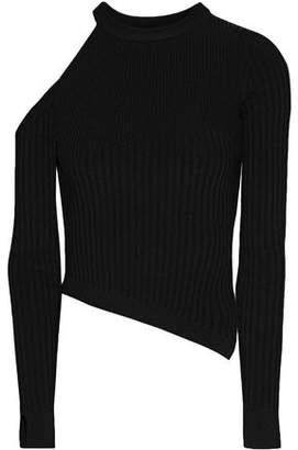 Cushnie et Ochs Renee Cold-Shoulder Ribbed-Knit Top