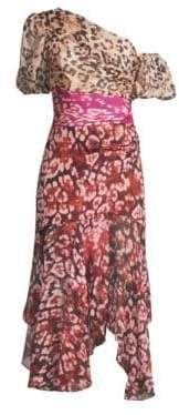 Jaylah Silk Chiffon One-Shouldered Dress