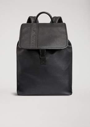 Emporio Armani Faux Leather Backpack With Debossed Logo