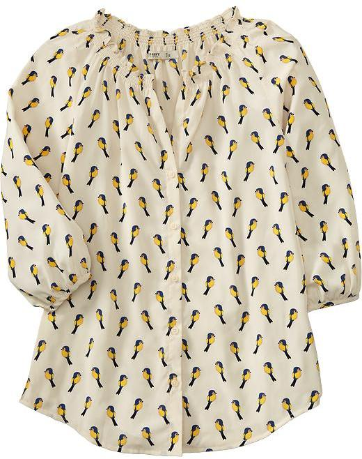 Women's Bird-Print Charmeuse Blouses