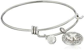 """Disney Stainless Steel Catch Bangle with Plated Crystal """"LOVE"""" with Mickey Mouse Head"""