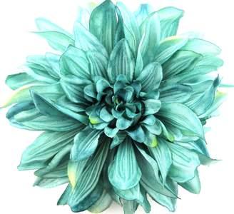 "Dahlia oceansEdge11 6"" Teal Silk Flower Brooch Pin with Locking Bale"