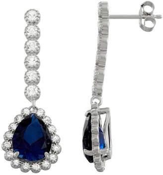 FINE JEWELRY Lab Created Blue Sapphire Sterling Silver 35.4mm Pear Stud Earrings