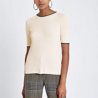 River Island Cream ribbed frill edge tipped T-shirt