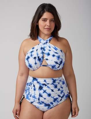 Cross-Front Bikini Top with Built-In Bandeau Bra