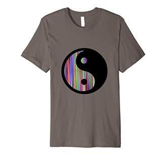 Yin & Yang Cool Yin Yang Symbol Colorful Stripes Design Premium T-Shirt
