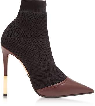 Balmain Aurore Burgundy Point-toe Honeycomb-knit Ankle Boots