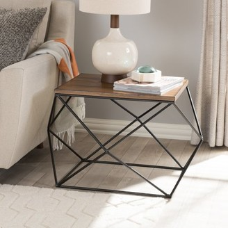Baxton Studio Stilo Metal Distressed Wood Occasional End Table