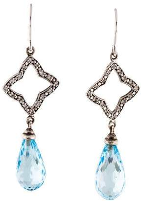 David Yurman Diamond & Topaz Quatrefoil Drop Earrings